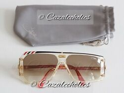 Cazal 867 col. 651 (Black + White + Red  Crystal) made in W. GERMANY ('80s) NOS