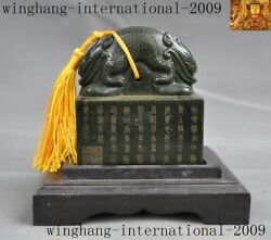 Chinese Dynasty Jasper Green Jade Carved 2 Dragon Head Statue Seal Stamp Signet