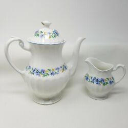 J. And G. Meakin England Classic White Teapot And Creamer Floral Blue Flowers