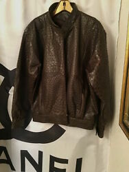Penny Howson Designer Leather Mens Full Quill Ostrich Jacket Size MVintage 80's