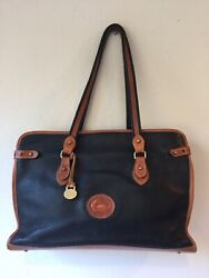 Dooney And Bourke Black And Tan Expandable All Weather Leather Pebbles Xl Tote, Rare