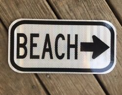 Beach Road Sign -12x6 - Dot Style - Ocean Traffic Highway Surf Wave Sea Shell