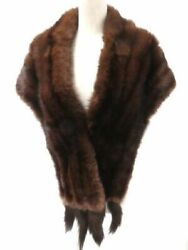 Sable with bunch Genuine fur Shawl Tippet Brown Soft Ladies Formal Fashion
