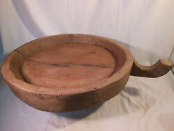 Old Hawaiian Poi Pounder Bowl W/ Handle Huge 20 Diameter And 3 Thick Rare