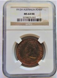 1912 H George V, Penny, Ngc Certified And Graded Ms.64 Rb.