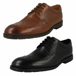 Mens Clarks And039ronnie Limitand039 Smart Leather Brogue Detail Lace Up Shoes - G Fitting