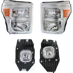 Set Of 4 Headlights Lamps Left-and-right For F250 Truck F350 F450 F550 Lh And Rh