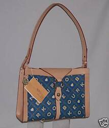 Dooney And Bourke Blue Crossword Alto Ring Flap Nwt