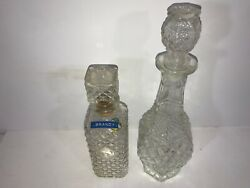 10a Large Vintage Crystal Etched Glass Liquor Whiskey Scotch Rum Decanters