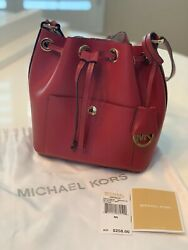 Michael Kors Greenwich Small Bucket Leather Bag Cherry Red $149.00