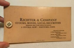 Vintage Richter And Company Hartford Ct New York Stock Exchange Celluloid Blotter