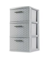 Sterilite 3 Drawer Weave Tower Cement Dorm Storage Essentials Home Case