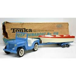 Early Vintage Tonka Jeep Boat Trailer Runabout Set No. 516 With Box