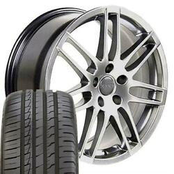 18 Hyper Silver Wheels And 245/40 Tires Set Fit Audi And Vw - Rs4 Rim 66.6 Hub Oew