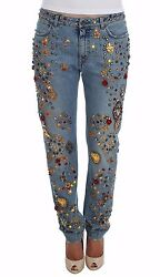 New 7900 Dolce And Gabbana Jeans Crystal Roses Heart Embellished It40 / Us6 / S