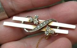 Antique Victorian 9 Ct. Rose 375 K Gold Natural Seeds Pearls Safety Pin Brooch
