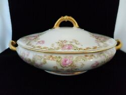 Haviland Limoges 8 Round Covered Casserole Pink Cabbage Rose Scroll Leaves Gold