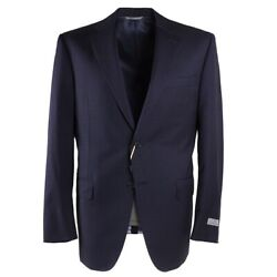 Nwt 2095 Canali Regular-fit Navy Blue Woven Check Wool Suit 40 R Eu 50