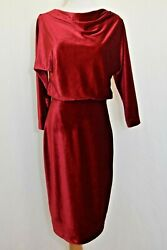 Belle Badgley Mischka Womens Velvet Dress In Red Size 8 Cocktail Party NEW NWT