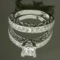 3.17 CARATS PRINCESS DIAMOND RING NATURAL WOMENS SIDE STONES 18K WHITE GOLD