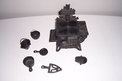 Vintage Queen Cast Iron Miniature Toy Stove And Accessories
