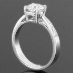 18 KT WHITE GOLD WOMEN DIAMOND ROUND RING VS1 2.39 CT SIDE STONES SIZE 7 8 9