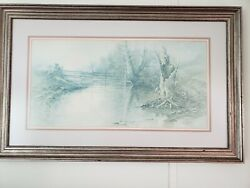 Vintage Limited Edition Ben Hampton Lithograph Reflecting Sycamores 28 Of 1500