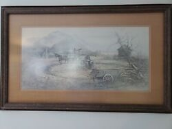 Vintage Limited Edition Ben Hampton Lithograph Sorghum Mill 28 Of 1500