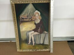 Vintage Framed Oil Painting Signed Nelson Girl Circus Tent Large Old Frame 26x40