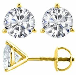 3-prong Round Forever One Def Moissanite Martini Stud Earrings 14k Yellow Gold