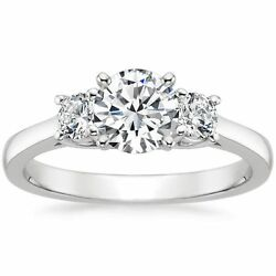 1.25ct Forever One Def Moissanite 3-stone Trellis Ring White Gold Candc Certified