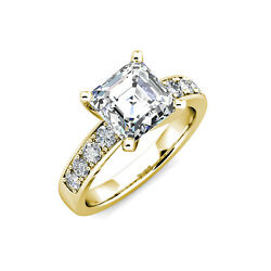 2.95 Ct Forever One Asscher Moissanite And Diamond Engagement Ring 14k W R Y Gold