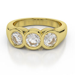 Round Cut Forever Brilliant Moissanite 14k Yellow Gold 3-stone Engagement Ring