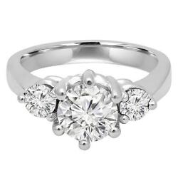 5.00ct Forever One Moissanite 6 Prong 3-stone Ring14k White Gold Candc Certified