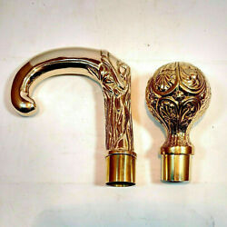 SET OF 2 BRASS HEAD DESIGNER ONLY HANDLE FOR VICTORIAN CANE WALKING STICK GIFT