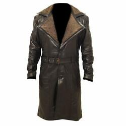 Menand039s German Classic Ww2 Brown Belted Fur Real Leather Winter Long Trench Coat