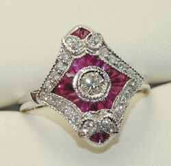 Art-deco Style 18carat White Gold Ruby And Diamond Cluster Ring Uk P 1/2 Us 7 3/4