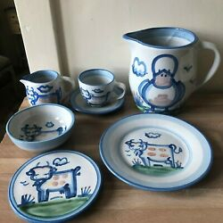 Lovely 7 Piece Set Ma Hadley Stoneware Duck Jug, Others W/ Cow Decoration
