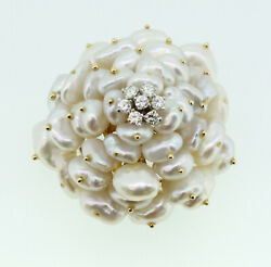Beautiful 14k Gold Freshwater Pearl and Diamond Cluster BroochPin