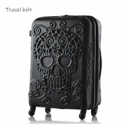 3D Skull Rolling Luggage Spinner Travel Suitcase Design Trolley Bag 20