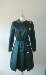 Sz 6/8 Iconic Oscar De La Renta Black Pleated Formal Evening Jacket Coat Pockets