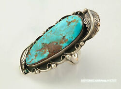 Ooak Native American Sterling Silver Ring Size 6.75 Blue Waterweb Turquoise