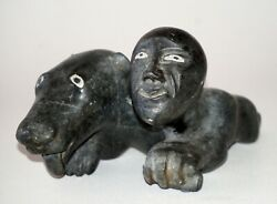 1980 Canada Eskimo Stone Carved Mythical Creature Sculpture Signed W.tag Kor