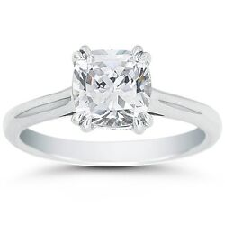 3.00ct Cushion Cut Forever One Def Round Moissanite Double Prong White Gold Ring