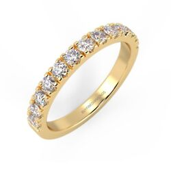 Limited Stock 2mm F/vs 0.33 Ct Round Diamond Half Eternity Ring18k Yellow Gold