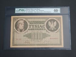 Poland 1919- 1000 Marek - State Loan Bank -pmg Extremely Fine 40 Net-large Note