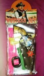 Tin Toy Gun Western Set With Holster Pistol L9.8 Inches Vintage Made In Japan