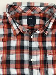 Rvca Short Sleeve Button Up Check Plaid Picnic Red Regular Fit Shirt Men Large
