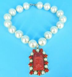 Sterling Silver Coral And Faux Pearl Carved Chinese God Runway Necklace 16 Long