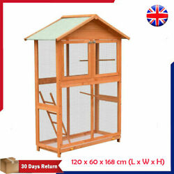 Solid Wood Large Bird Cage Aviary Birds House Habitat Case Weather Resistant
